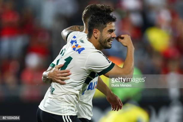 Henrique Almeida of Coritiba celebrates a scored goal during a match between Flamengo and Coritiba as part of Brasileirao Series A 2017 at Ilha do...