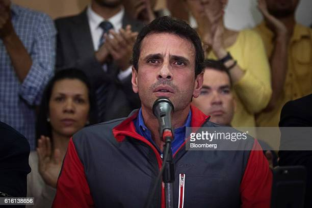 Henrique Capriles opposition leader and governor of the State of Miranda speaks during a news conference in Caracas Venezuela on Friday Oct 21 2016 A...