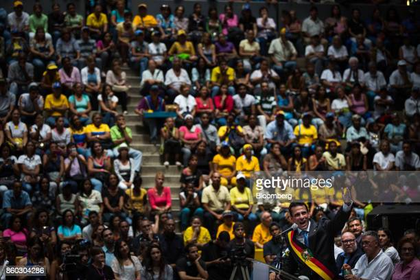 Henrique Capriles opposition leader and governor of the State of Miranda speaks during an event marking his last day as governor in Caracas Venezuela...
