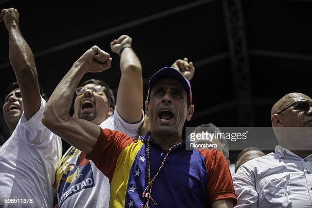 Henrique Capriles opposition leader and twotime presidential candidate cheers during a protest in Caracas Venezuela on Thursday Sept 1 2016...
