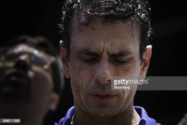 Henrique Capriles opposition leader and twotime presidential candidate pauses during a protest in Caracas Venezuela on Thursday Sept 1 2016...