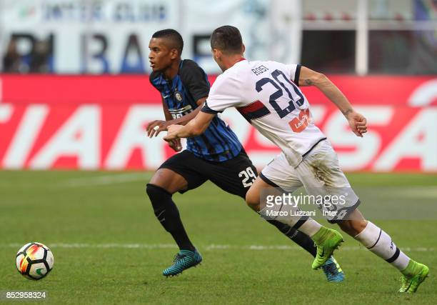 Henrique Dalbert of FC Internazionale competes for the ball with Aleandro Rosi of Genoa CFC during the Serie A match between FC Internazionale and...