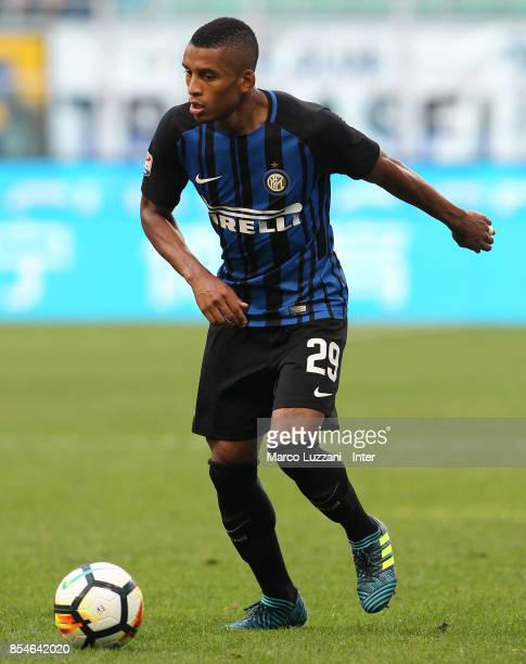 Henrique Dalbert of FC Internazionale in action during the Serie A match between FC Internazionale and Genoa CFC at Stadio Giuseppe Meazza on...