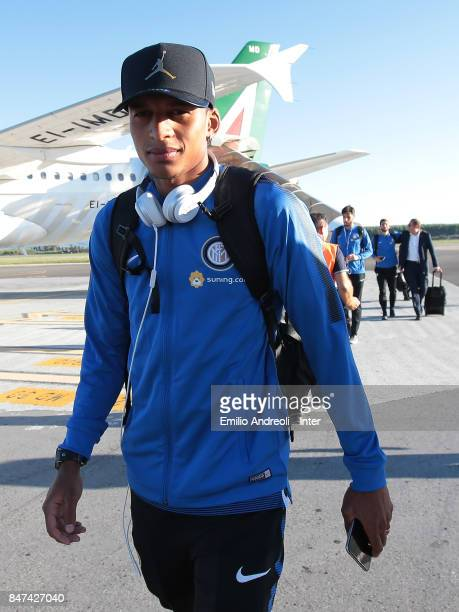 Henrique Dalbert of FC Internazionale Milano as FC Internazionale travel to Crotone ahead of the Serie A match on September 15 2017 in Crotone Italy