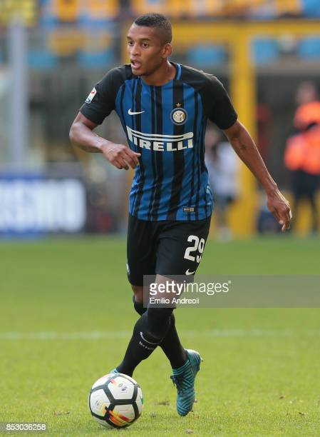 Henrique Dalbert of FC Internazionale Milano in action during the Serie A match between FC Internazionale and Genoa CFC at Stadio Giuseppe Meazza on...