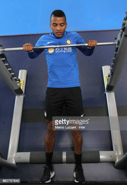 Henrique Dalbert of FC Internazionale trains in the gym during the FC Internazionale training session at the club's training ground Suning Training...