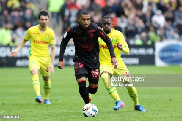 Henrique Dalbert of Nice and Jules Iloki of Nantes during the French League match between Fc Nantes and OGC Nice at Stade de la Beaujoire on March 18...