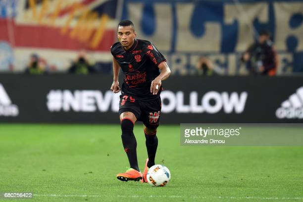 Henrique Dalbert of Nice during the Ligue 1 match between Olympique de Marseille and OGC Nice at Stade Velodrome on May 7 2017 in Marseille France
