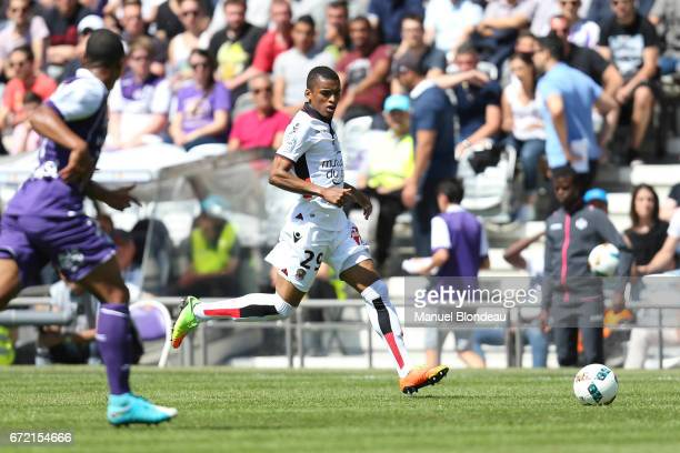 Henrique Dalbert of Nice during the Ligue 1 match between Toulouse FC and OGC Nice at Stadium Municipal on April 23 2017 in Toulouse France