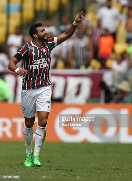 Henrique Dourado of Fluminense celebrates a scored goal against Santos during a match between Fluminense and Santos as part of Brasileirao Series A...