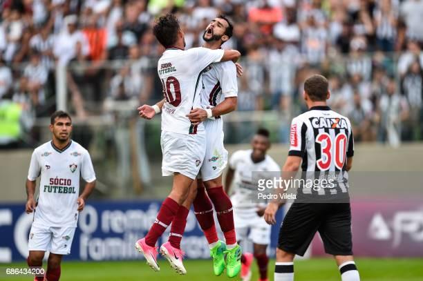 Henrique Dourado of Fluminense celebrates a scored goal against Atletico MG during a match between Atletico MG and Fluminense as part of Brasileirao...