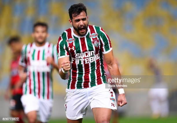 Henrique Dourado of Fluminense celebrates a scored goal during a match between Fluminense and Atletico GO as part of Brasileirao Series A 2017 at...