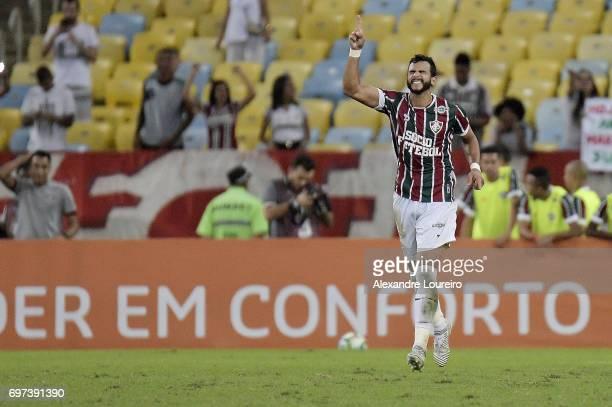 Henrique Dourado of Fluminense celebrates a scored goal during the match between Fluminense and Flamengo as part of Brasileirao Series A 2017 at...