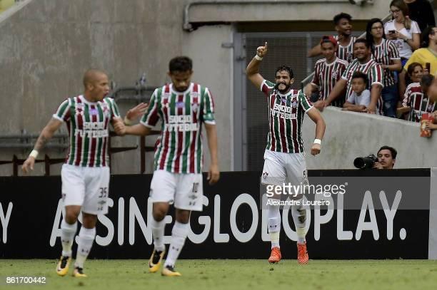 Henrique Dourado of Fluminense celebrates a scored goal during the match between Fluminense and Avai as part of Brasileirao Series A 2017 at Maracana...