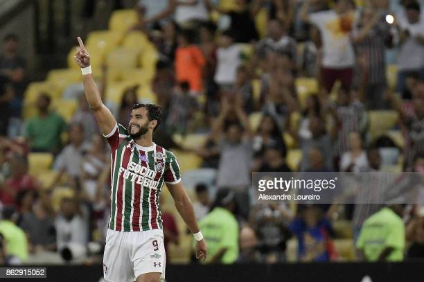 Henrique Dourado of Fluminense celebrates a scored goal during the match between Fluminense and Sao Paulo as part of Brasileirao Series A 2017 at...
