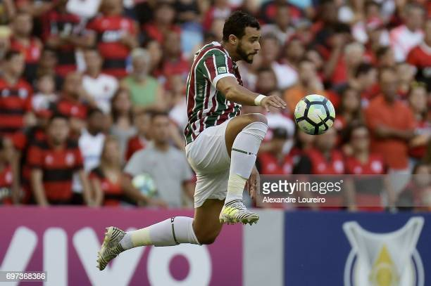 Henrique Dourado of Fluminense in action during the match between Fluminense and Flamengo as part of Brasileirao Series A 2017 at Maracana Stadium on...