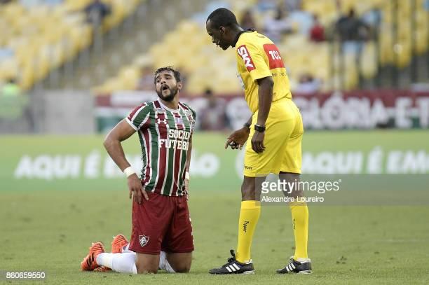 Henrique Dourado of Fluminense reacts during the match between Flamengo and Fluminense as part of Brasileirao Series A 2017 at Maracana Stadium on...