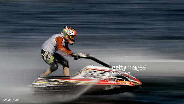 Henrique Gomes of Portugal race in the Ski Division GP1 final during the Aquabike Class Pro Circuit World Championships Grand Prix of Sharjah at...