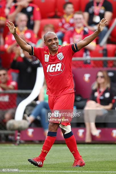 Henrique of Adelaide United celebrates after scoring a goal during the round nine ALeague match between Adelaide United and the Wellington Phoenix at...