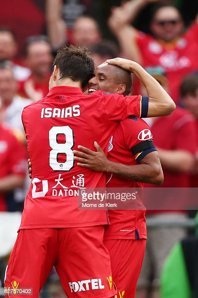 Henrique of Adelaide United celebrates with teammate Isaias after scoring a goal during the round nine ALeague match between Adelaide United and the...