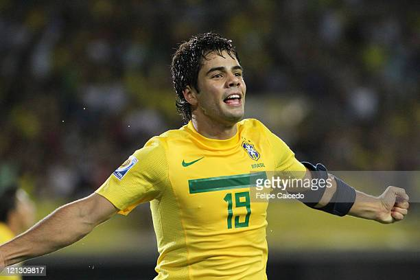 Henrique of Brazil celebrates a scored goal against Mexico during the FIFA U20 World Cup Colombia 2011 match between Brazil and Mexico at Hernan...