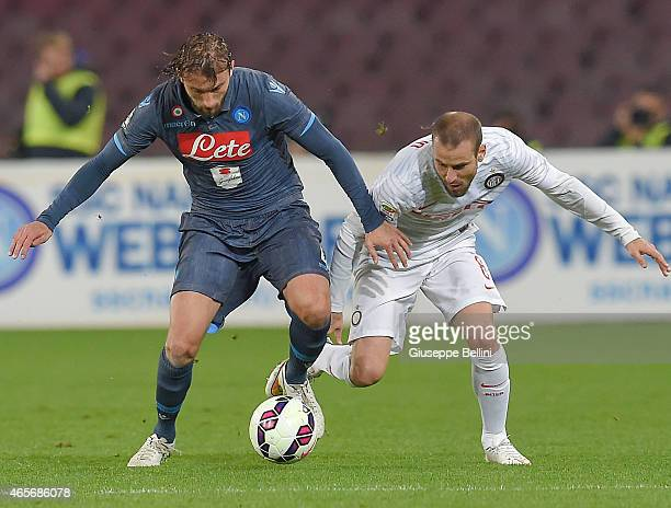 Henrique of Napoli and Rodrigo Palacio of Internazionale Milano in action during the Serie A match between SSC Napoli and FC Internazionale Milano at...