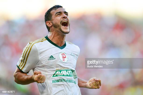 Henrique of Palmeiras celebrates a scored goal against Flamengo during a match between Flamengo and Palmeiras as part of Brasileirao Series A 2014 at...
