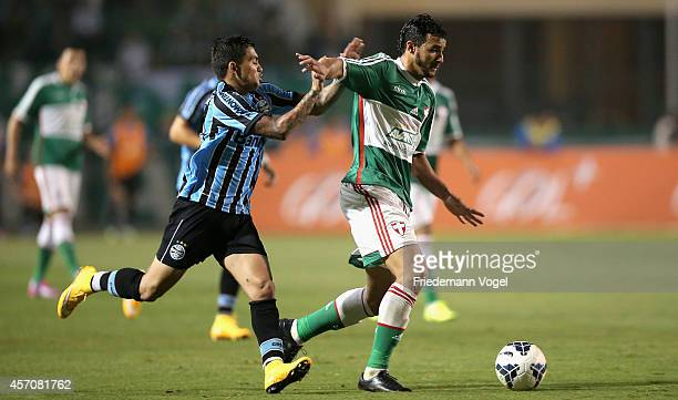 Henrique of Palmeiras fights for the ball with Dudu of Gremio during the match between Palmeiras and Gremio for the Brazilian Series A 2014 at...