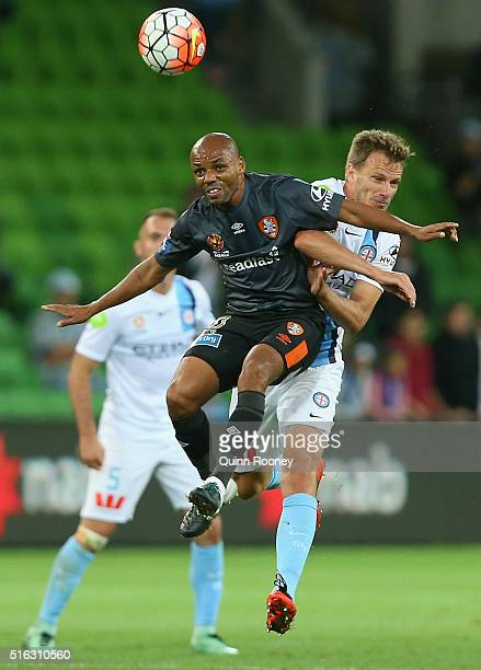 Henrique of the Roar and Alexander Wilkinson of City compete to head the ball during the round 24 ALeague match between Melbourne City and Brisbane...