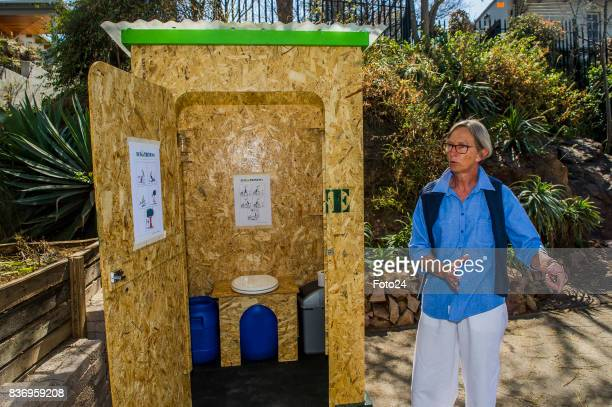 Henriëtte Vermaak with the ecofriendly mobile toilet on August 15 2017 in Johannesburg South Africa Henriëtte Vermaak along with ECOlaTRINE brought...
