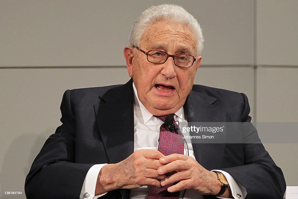 Henry A. Kissinger, former US secretary of state gestures during a panel talk during day 2 of the 48th Munich Security Conference at Hotel Bayerischer Hof on February 4, 2012 in Munich, Germany. The 48th Munich conference on security policy is running till February 5, 2012.