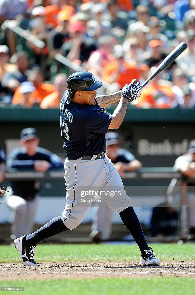 <a gi-track='captionPersonalityLinkClicked' href=/galleries/search?phrase=Henry+Blanco&family=editorial&specificpeople=211366 ng-click='$event.stopPropagation()'>Henry Blanco</a> #33 of the Seattle Mariners hits a home run in the seventh inning against the Baltimore Orioles at Oriole Park at Camden Yards on August 4, 2013 in Baltimore, Maryland.
