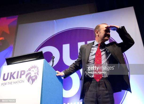 Henry Bolton arrives to make a speech as the new leader of UK Independence Party during the party's annual conference at the Riviera International...