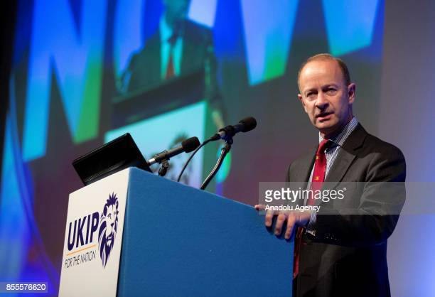 Henry Bolton delivers a speech as the new leader of UK Independence Party during the party's annual conference at the Riviera International...