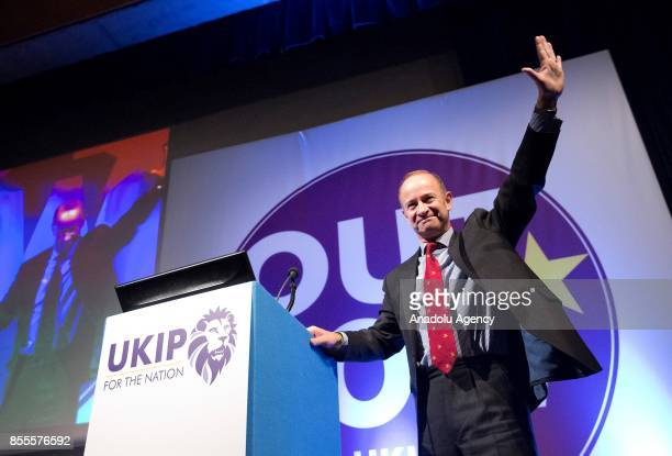 Henry Bolton greets the crowd as the new leader of UK Independence Party during the party's annual conference at the Riviera International Conference...