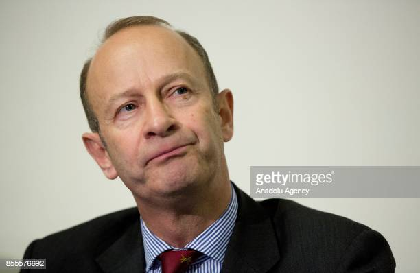 Henry Bolton holds a press conference as the new leader of UK Independence Party during the party's annual conference at the Riviera International...