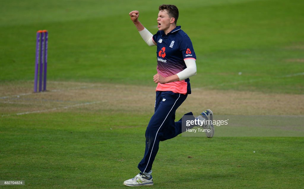 Henry Brookes of England U19s celebrates the wicket of Abhishek Sharma of India U19s during the 5th Youth ODI match between England U19s and India Under 19s at The Cooper Associates County Ground on August 16, 2017 in Taunton, England.