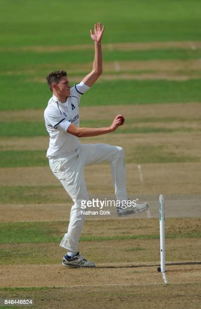 Henry Brookes of Warwickshire runs into bowl during the County Championship Division One match between Warwickshire and Essex at Edgbaston on...