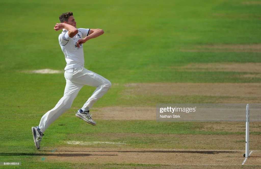 Henry Brookes of Warwickshire runs into bowl during the County Championship Division One match between Warwickshire and Essex at Edgbaston on September 13, 2017 in Birmingham, England.
