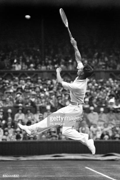Henry 'Bunny' Austin in action during the Mens Singles Austin was part of the golden age of British tennis teaming up with Fred Perry to win four...