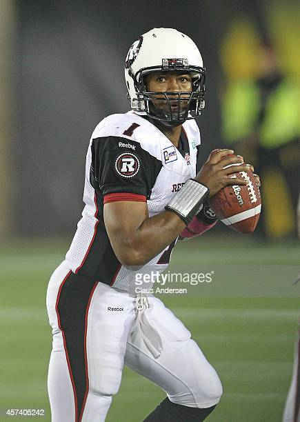 Henry Burris of the Ottawa Redblacks gets set to make a play against the Hamilton Tigercats in a CFL game at Tim Hortons Field on October 17 2014 in...