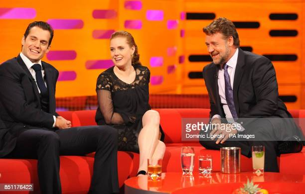Henry Cavill Amy Adams and Russell Crowe during the filming of this week's Graham Norton show at the London Studios in London