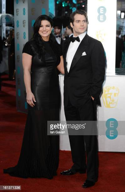Henry Cavill and Gina Carano attend the EE British Academy Film Awards at The Royal Opera House on February 10 2013 in London England