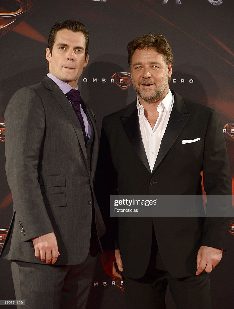 Henry Cavill and Russell Crowe attend the premiere of ' Man of Steel' (El Hombre de Acero) at Capitol Cinema on June 17, 2013 in Madrid, Spain.