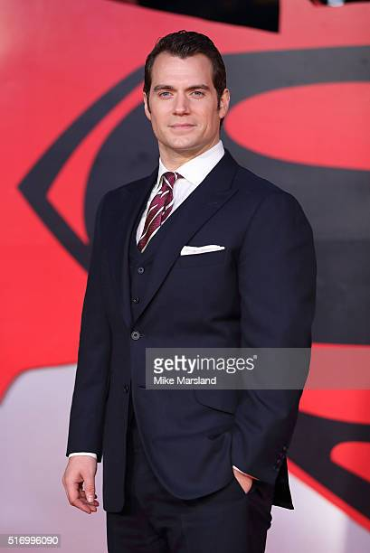 Henry Cavill arrives for the European Premiere of 'Batman V Superman Dawn Of Justice' at Odeon Leicester Square on March 22 2016 in London England