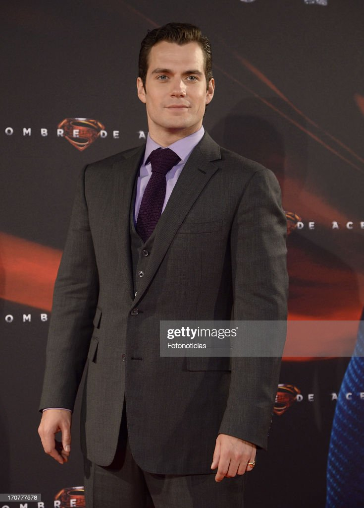 <a gi-track='captionPersonalityLinkClicked' href=/galleries/search?phrase=Henry+Cavill&family=editorial&specificpeople=3767741 ng-click='$event.stopPropagation()'>Henry Cavill</a> attends the premiere of ' Man of Steel' (El Hombre de Acero) at Capitol Cinema on June 17, 2013 in Madrid, Spain.