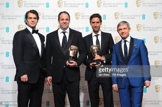 Henry Cavill Simon Chinn Malik Bendjelloul with and Martin Freeman in the press room at the 2013 British Academy Film Awards at the Royal Opera House...