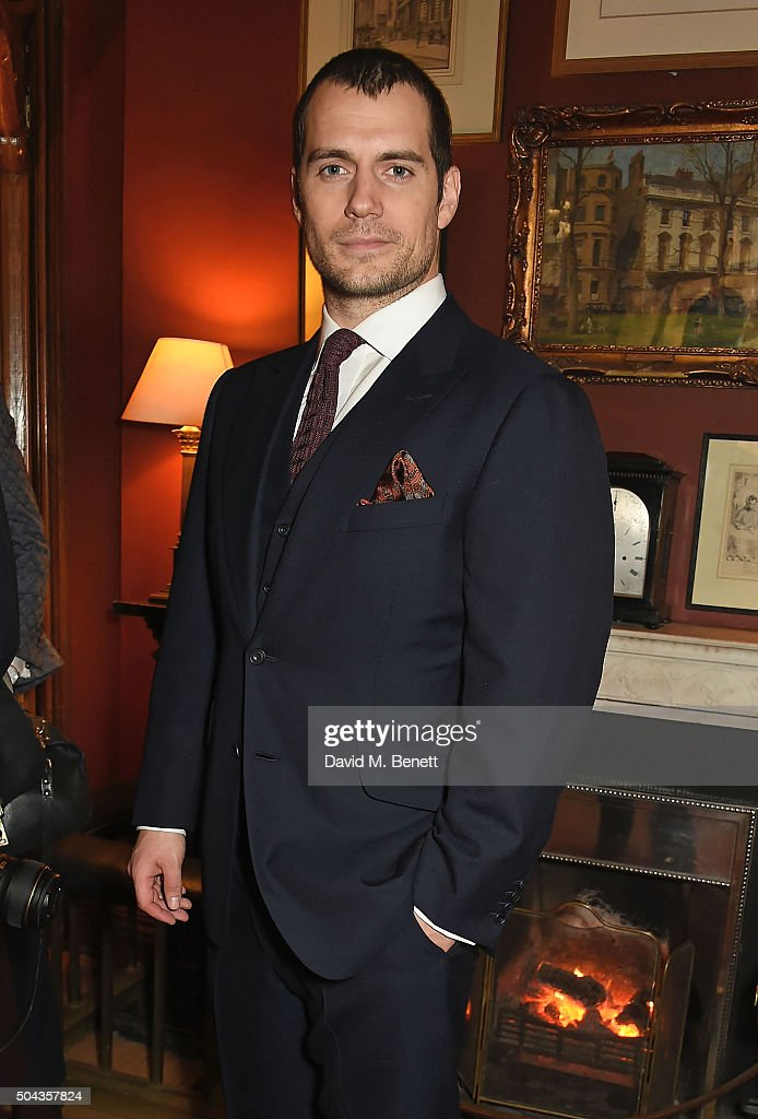 <a gi-track='captionPersonalityLinkClicked' href=/galleries/search?phrase=Henry+Cavill&family=editorial&specificpeople=3767741 ng-click='$event.stopPropagation()'>Henry Cavill</a> wearing dunhill attends dunhill Autumn Winter 2016 Collection Presentation LCM on January 10, 2016 in London, England.