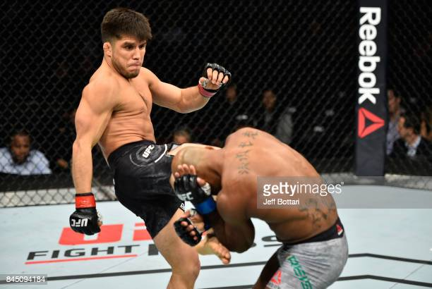 Henry Cejudo kicks Wilson Reis of Brazil in their flyweight bout during the UFC 215 event inside the Rogers Place on September 9 2017 in Edmonton...