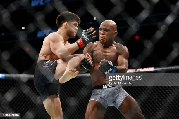 Henry Cejudo left fights Wilson Reis during UFC 215 at Rogers Place on September 9 2017 in Edmonton Canada